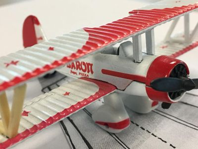 Vintage Red Barron Pizza Toy Airplane