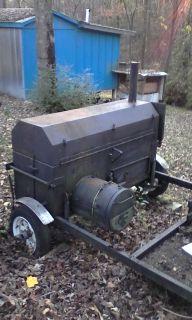 hardwood or charcoal b.b.q   grill on a traler 12fx5f long