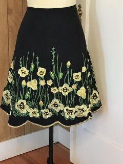 Basil and Maude Floral Embroidered Skirt Size 8