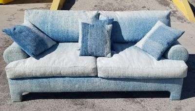 Custom Crafted Seret & Son's Denim/Canvas Sofa Couch