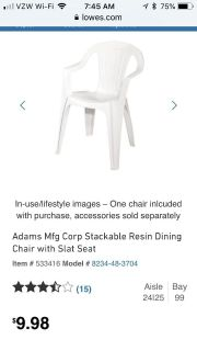 5 Stacking Plastic Patio Lawn Chairs