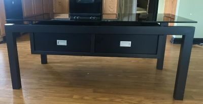 Black Glass Top Coffee/Cocktail table w/ 2 drawers