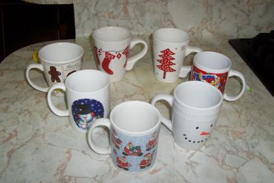 assorted Christmas Coffee cups