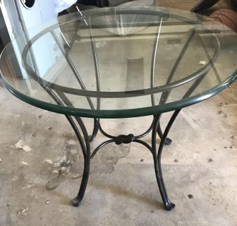 Round metal and glass table