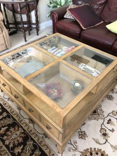 Wooden coffee table with storage