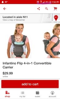 Nwot baby carrier