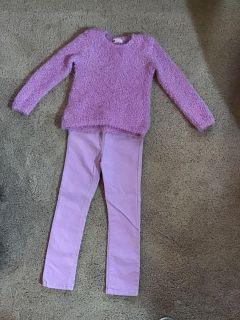 H&M lavender fuzzy sweater size 4-6y & NWT sparkle corduroy pants size 5-6y