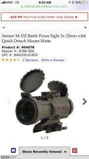For Sale: Steiner M-332 Battle Prism Sight 3x 32mm with Quick Detach Mount Matte