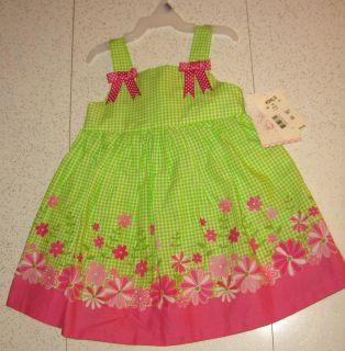 NEW Kohl's Sundress Green & White Check Print w/Pink & White Floral Design w/Pink & White Dot Bow Accents $8 24Mos