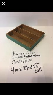 Vintage green solid wood divided small crate Pickup Marquette Hts only Unable to meet