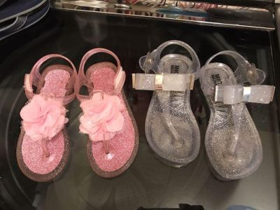 EUC Michael Kors silver and pink glitter jellies both size 9 PRICE IS FOR BOTH