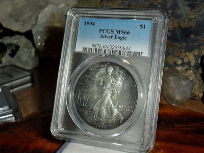 Exceptional and Beautiful 1994-P American Silver Eagle MS 66 PCGS Rainbow Tone on Both Sides