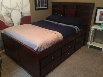 Full Size Bed with Bookcase Headboard and Twin Trundle with Drawers - solid wood with Cherry Finish