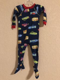 Navy Cars And Trailers Zip Up Front Skid Proof Pj s. Nice Condition. Size 18 Months