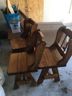 4 wood chairs and bench