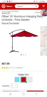 Unbrella great shape but faded. Does not come with the stand weight