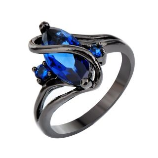 New - Blue Sapphire Marquise and Black Ring - Size 7