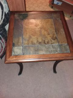 Stone tile and wrought iron end table