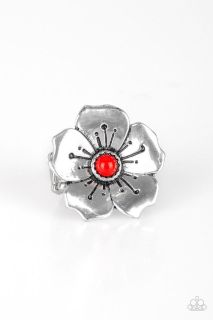 PAPARAZZI BOHO BLOSSOM RING IN RED NWT