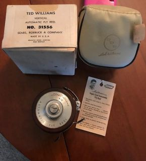 Vintage Ted Williams 31556 fly reel with cream leather case in box.