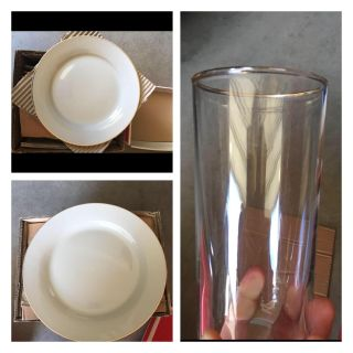 12 Piece Set of Plates & Glass Tumblers