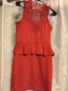Hot red love culture dress -large