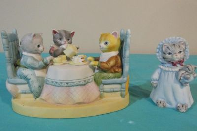 Rare Vintage Schmid Kitty Cucumber Figurine Music Box Cat Tea Works plays beautiful song Tea for Two and comes with an extra Cucumber Kitty