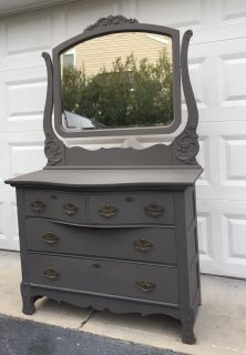 Antique Slate gray chest of drawers/dresser/vanity/changing table/foyer piece