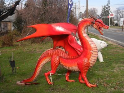 AWESOME Painted Fiberglass Statue of Dragon