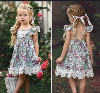 NEW! Beautiful 2/3T Lace Trimmed Floral Summer Dress