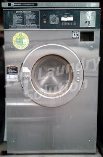 Coin Operated Maytag Front Load Washer Coin Op 18LB AT18MC1 3PH Stainless Steel Used
