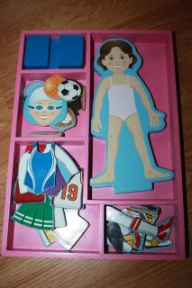 Melissa & Doug Wooden Magnetic Sports Girl Puzzle dress up doll set