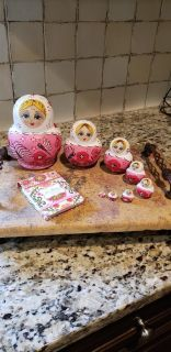 Russian Nesting Dolls set of 8 with Vera Bradley New Paper Pad with Nesting Dolls on Papers.