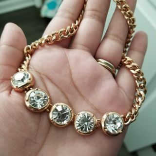 Statement Gold tone necklace with medium size stones