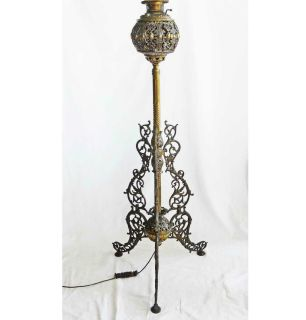 Victorian Floor Lamp Fancy Brass Antique Oil 1876