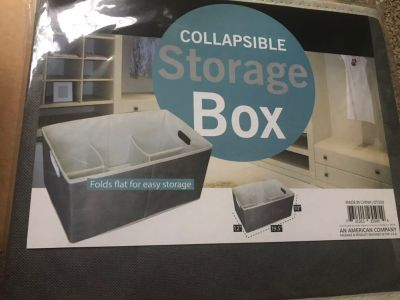 New collapsible storage box with built in compartments