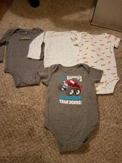 9M, SET OF 4, CARTER ONESIES, EXCELLENT CONDITION, SMOKE FREE HOUSE
