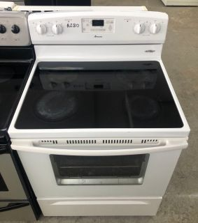 Comes with free 6 Months Warranty-all white electric stove glass top Amana with self cleaning oven