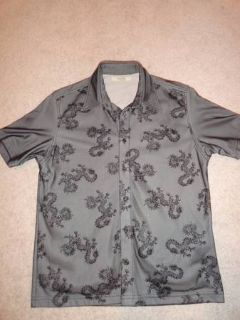 Black and silver short sleeve shirt with dragon detail