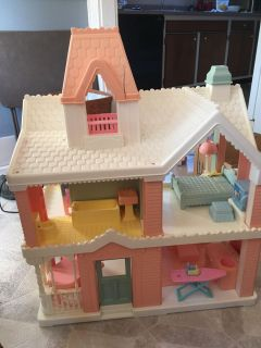 1991 vintage fisher price loving family doll house with accessories
