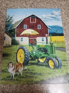 12x16 METAL JOHN DEERE PICTURE, EXCELLENT CONDITION, SMOKE FREE HOUSE