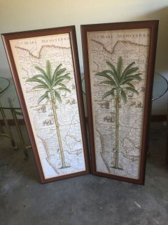 Set of palm trees pictures