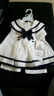 NWT 3 piece set 12 months Navy pant, dress, and hat set