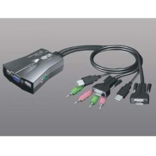 Tripp Lite 2-Port All-in-One USB KVM Switch w/Audio and Built-In Cables