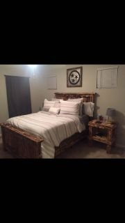 Queen bed frame and matching end tables