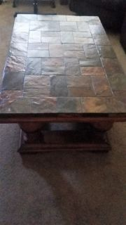 Solid wood coffee table with insolid inlays 51 in. x 31in.