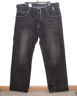 Parish Button Fly Black Wash Belted Jeans Mens Tag 40 Measures 38 x 33