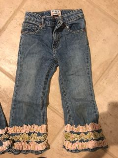 Girls ruffled jeans, 4T