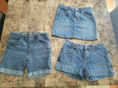Girls Jean Shorts and Skirt