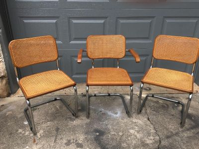 MCM Marcel Breuer Knoll Set of 3 Cane, Chrome & Wood Chairs
